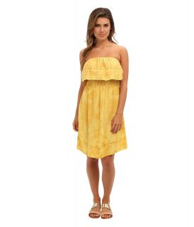 Angie Solid Eyelet Trim Dress Womens Dress (Yellow)