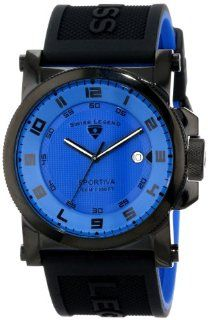 Swiss Legend Men's 40030 BB 03 Sportiva Blue Textured Dial Black and Royal Blue Silicone Watch Watches