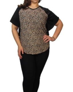 599fashion Plus size butterfly sleeve animal print top Blouses