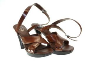TOD'S Women's Plateau Leath. Sasha D90Dark Brown Heel Sandals Sz 37 D90S602: Shoes