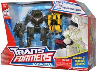 Hasbro Year 2008 Transformers Animated Series Exclusive 3 Pack Robot Action Figure Set   Deluxe Class 7 Inch Tall Decepticon Stealth LOCKDOWN with Flip Out Hook (Vehicle Mode: Cruiser) Plus 2 Legends Class 3 Inch Tall Robot Figure (Autobot Bumblebee and Op