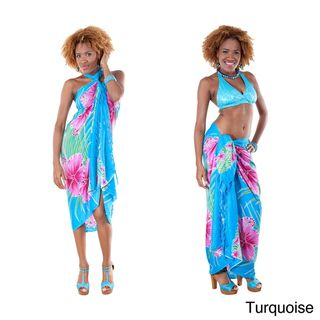 Pareo con estampado de flores hawaianas (Indonesia) 1 World Sarongs Sarongs/Cover Ups