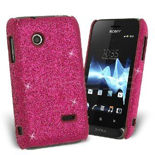 Hot Pink Fine Sparkle Glitter Back Cover Case for Sony Xperia Tipo  Sony Xperia Tipo Case Ultra Slim Glamour Sequins Cover [For Her] Rigid Fit Lightweight Tough Shell Style Clip on: Cell Phones & Accessories