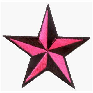 Pink Black Tattoo Nautical 3D Star Rockabilly Embroidered Iron on Biker Patch: Clothing
