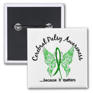 Grunge Tattoo Butterfly 6.1 Cerebral Palsy Pinback Buttons