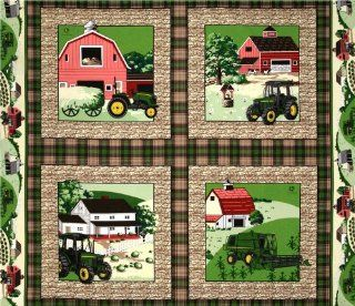 44'' Wide John Deere Pillow Panel Plaid Brown/Green Fabric By The Panel
