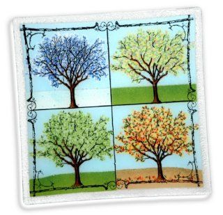Peggy Karr Glass Hand Crafted 4 Seasons Square Plate, 10 Inch: Kitchen & Dining