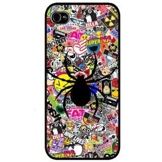 Black Frame Designer iphone sticker bomb spider 4 4S Case/Back cover Metal and Hard case: Cell Phones & Accessories