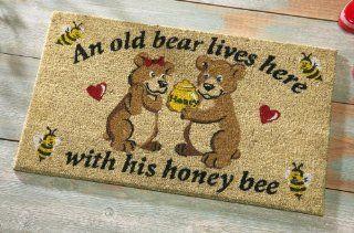 Old Bear And His Honey Front Door Welcome Mat  Patio, Lawn & Garden