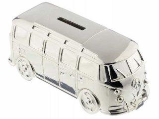 Silver Plated Camper Van Money Box   Christening New Baby Boy Gift   Toy Banks