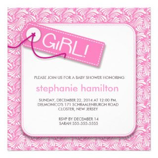 Custom pattern labe shadow baby girl shower personalized invitation