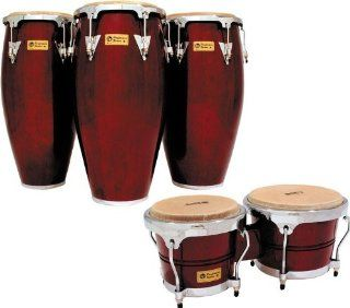 LP Performer Series Conga 3 Piece Set with Free Bongos Dark Wood Chrome Hardware: Musical Instruments
