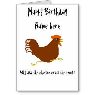 Chicken on Birthday card customize corny joke