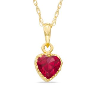 0mm Heart Shaped Lab Created Ruby Crown Pendant in Sterling Silver