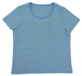 Nicole Miller New York Women's Striped Scoop Neck Tee (French Blue/White, 3XL)