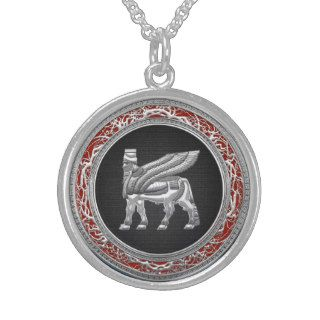 [200] Babylonian Winged Bull [Silver] [3D] Sterling Silver Necklace