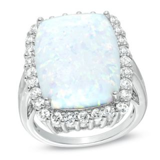 Cushion Cut Lab Created Opal and White Sapphire Frame Ring in Sterling