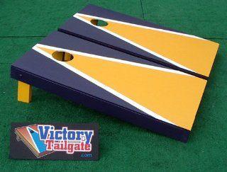 Yellow & Navy Blue Custom Painted Cornhole Bag Toss Game Set  Georgia Tech Cornhole  Sports & Outdoors