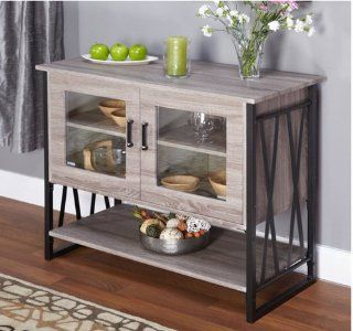Buffet Storage Cabinet in Reclaimed Wood Distressed Gray Finish, Black Steel Frame and Glass Inlaid Doors, Lower Shelf. This Chic Wood Buffet Gives an Industrial Rustic Appeal, Modern, Yet Weathered Wood Look. Glass Doors, One Fixed Shelf Inside. : Office