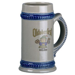 German Cartoon Man Oktoberfest Stein Mugs