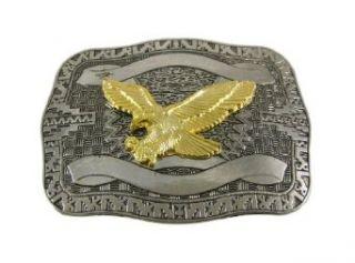 Chrome Plated Golden Eagle Western Belt Buckle Clothing