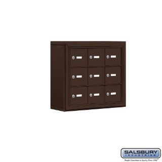 Cell Phone Storage Locker   3 Door High Unit (5 Inch Deep Compartments)   9 A Doors   Bronze   Surface Mounted   Master Keyed Locks  Office Storage Lockers