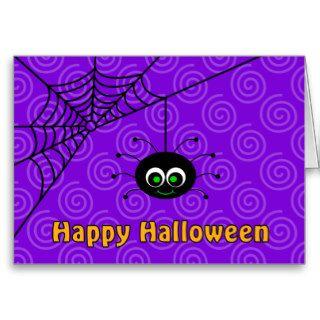 Hanging Spider Web Happy Halloween Card