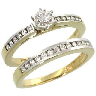 "14k Gold 2 Piece Wedding Ring Set, w/ 0.35 Carat Brilliant Cut Diamonds, 1/4"" (6mm) wide: Jewelry"