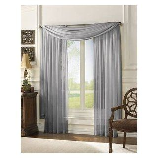 HLC.ME Voile Sheer Curtain Silver 55 x 216 in. Scarf   Window Treatment Scarves