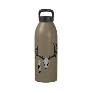 Mule deer skull eagle feather water bottles