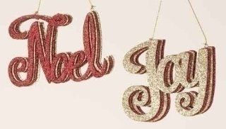 """Club Pack of 12 Rejoice Red & Gold Glitter Noel & Joy Christmas Ornaments 4.25""""   Decorative Hanging Ornaments"""