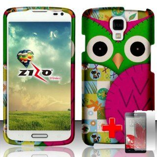 LG Volt LS740   2 Piece Snap On Rubberized Image Case Cover, Pink Green Cute Cartoon Owl Design + SCREEN PROTECTOR: Cell Phones & Accessories