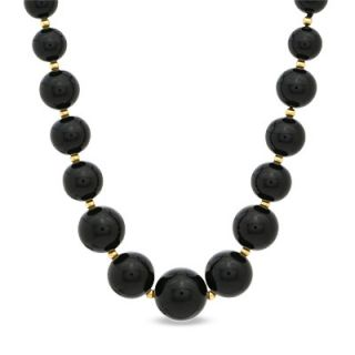 Graduated Onyx and 14K Gold Bead Necklace   Zales
