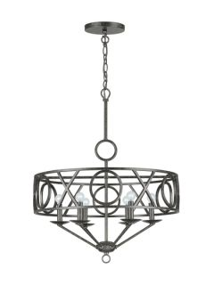 Wrought Iron Six Light Chandelier by Crystorama