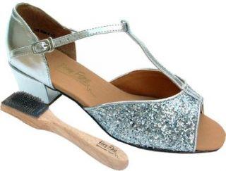 "Very Fine Salsa Ballroom Tango Practice Dance Shoes 801 Bundle with Dance Shoe Wire Brush 1.5"" Heel Shoes"