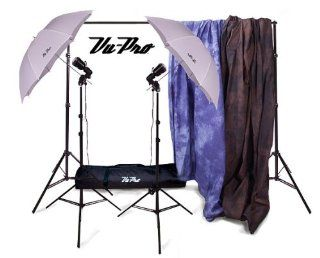"OWEN'S ORIGINALS VU PRO COMPLETE HOME STUDIO PACKAGE#1. INCLUDES: 901 BACKDROP STAND W/CARRY CASE, 6X9 BELLAGIO MUSLIN BACKDROP, 6X9 BISCAY BLUE MUSLIN BACKGROUND, 2X V 45 STROBE PHOTOGRAPHY LIGHTS, 2X 33"" TRANSLUCENT UMBRELLAS, 2X 803 LIGHT STAND"