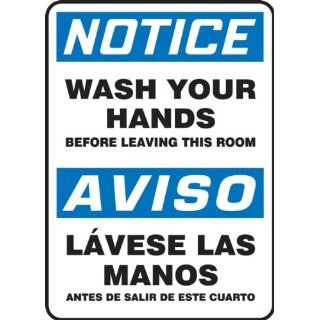 "Accuform Signs SBMRST803VS Adhesive Vinyl Spanish Bilingual Sign, Legend ""NOTICE WASH YOUR HANDS BEFORE LEAVING THIS ROOM/AVISO LAVESE LAS MANOS ANTES DE SALIR DE ESTE CUARTO"", 14"" Length x 10"" Width x 0.004"" Thickness, Blue/Black"