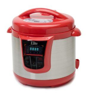 MaxiMatic EPC 808R Elite Platinum Digital Stainless Steel Pressure Cooker with 13 Functions, 8 Quart, Red Kitchen & Dining