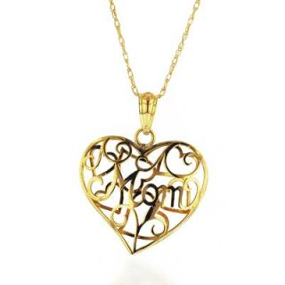 MOM Filigree Heart Pendant in 10K Gold   Zales