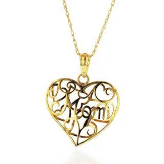 MOM Filigree Heart Pendant in 10K Gold   Zales