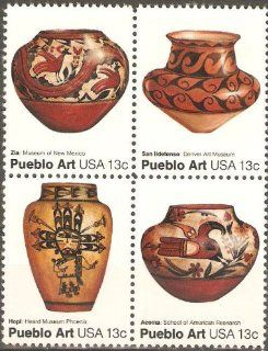 USA Collectible Postage Stamps American Folk Art Series Pueblo Pottery Issue. Block of Four.