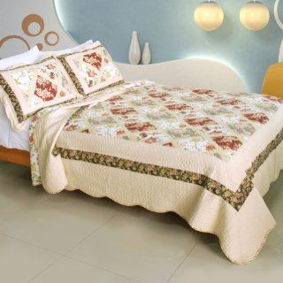 [Angel Tattoo] 100% Cotton 3PC Vermicelli Quilted Patchwork Quilt Set (Full/Queen Size)   Angel Bed Ensamble