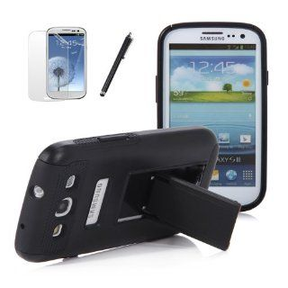 ATC Black Kickstand Hybrid Case Hard Gel Cover w/ Stand for Samsung Galaxy S3 I9300 (Verizon, Sprint, T Mobile, AT&T): Cell Phones & Accessories