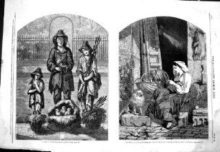 Antique Print of 1858 Sketch Streets London Poor Family Sellers La Culla Beautiful Girl Dog