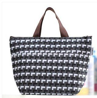 "Women's Fashion Black White Gray Geometric Print Insulated Lunch Tote Bag ~ 12.5""x8.5""x5"" Kitchen & Dining"