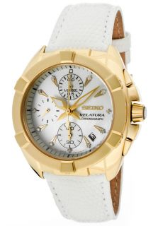 Seiko SNDY22  Watches,Womens Velatura White Mother Of Pearl White Leather, Chronograph Seiko Quartz Watches