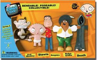 Family Guy Bendable Figures Set   Evil Monkey, Quagmire, Stewie, Death and Rufus Griffin: Toys & Games