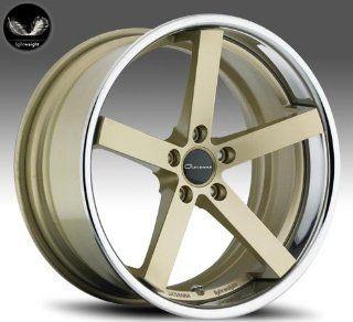Giovanna Mecca 20x8.5 20x10 Wheels BMW 3 5 Series Staggered Gold Face Chrome Lip 4pc 1 set Automotive