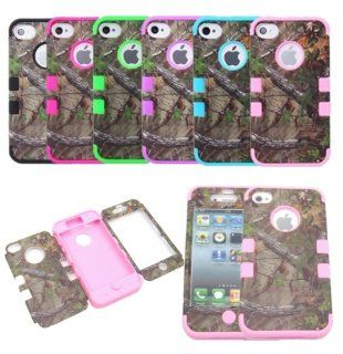 JUSTING@Triple Layer Hybrid Real Tree Camo Hybrid Hard Case Cover for iPhone 5/5S (baby pink): Cell Phones & Accessories