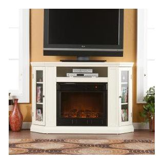 Southern Enterprises Claremont Convertible Media Ivory Electric Fireplace   Gel Fuel Fireplaces